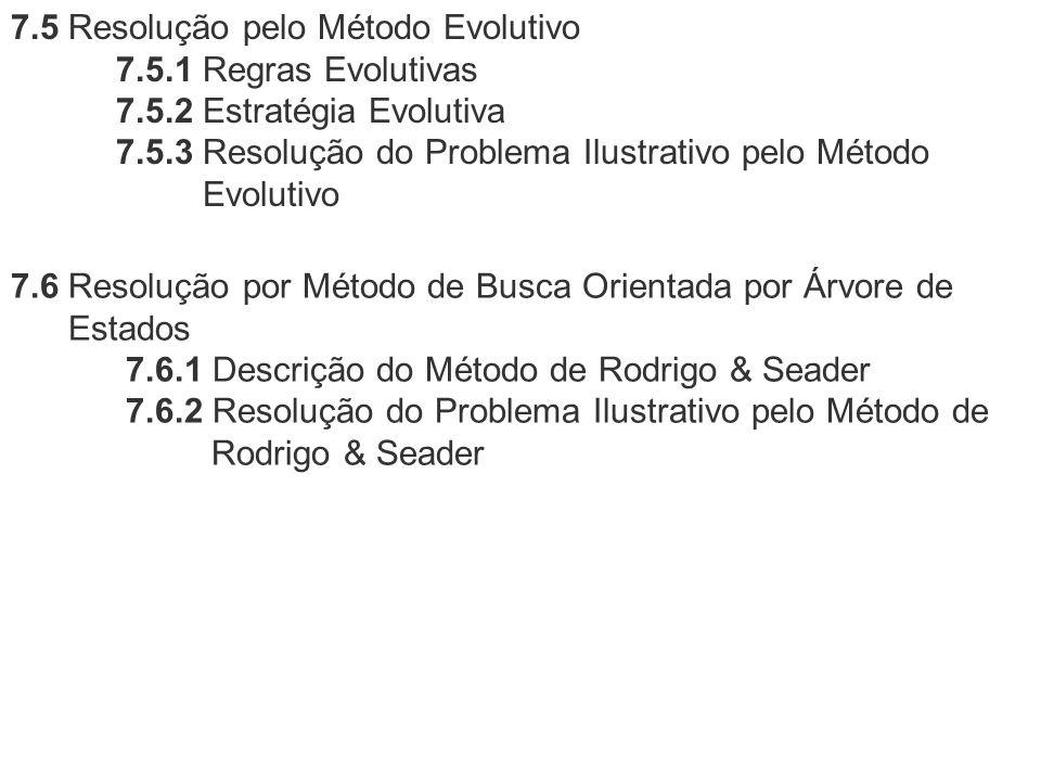 7.5 Resolução pelo Método Evolutivo 7.5.1 Regras Evolutivas 7.5.2 Estratégia Evolutiva 7.5.3 Resolução do Problema Ilustrativo pelo Método Evolutivo 7