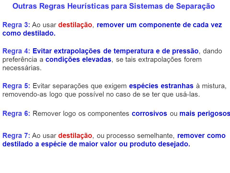 Outras Regras Heurísticas para Sistemas de Separação Regra 3: Ao usar destilação, remover um componente de cada vez como destilado. Regra 7: Ao usar d