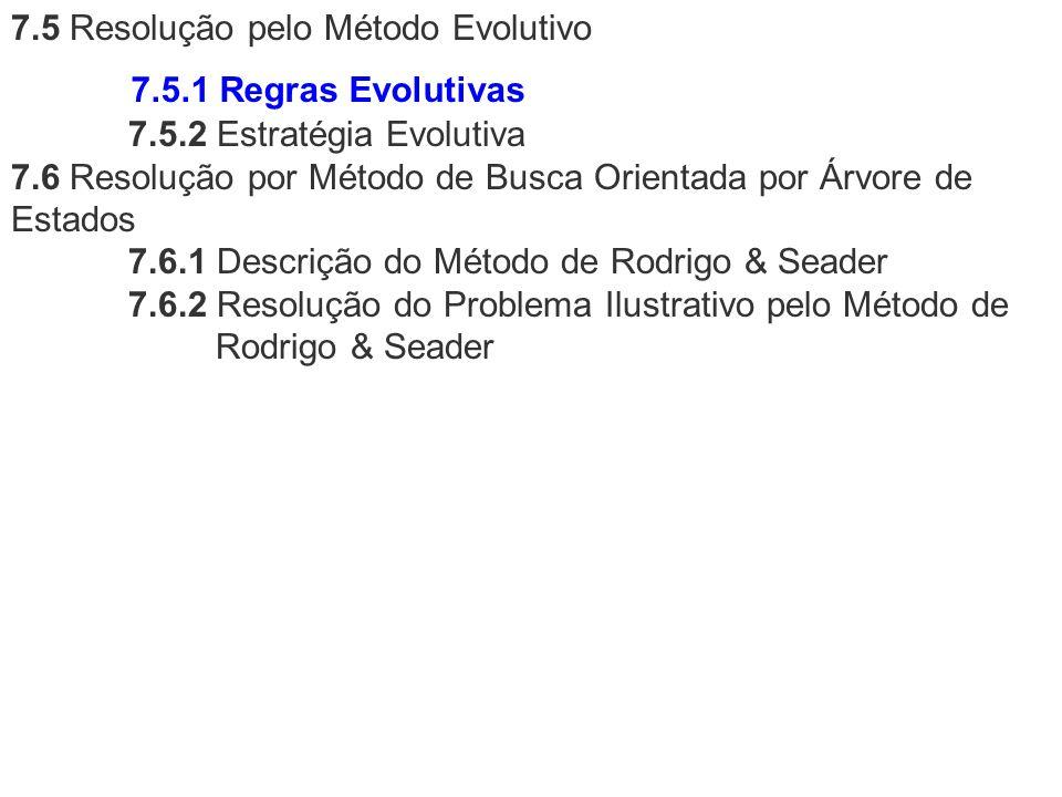 7.5 Resolução pelo Método Evolutivo 7.5.2 Estratégia Evolutiva 7.6 Resolução por Método de Busca Orientada por Árvore de Estados 7.6.1 Descrição do Mé