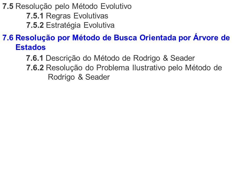 7.5 Resolução pelo Método Evolutivo 7.5.1 Regras Evolutivas 7.5.2 Estratégia Evolutiva 7.6.1 Descrição do Método de Rodrigo & Seader 7.6.2 Resolução d