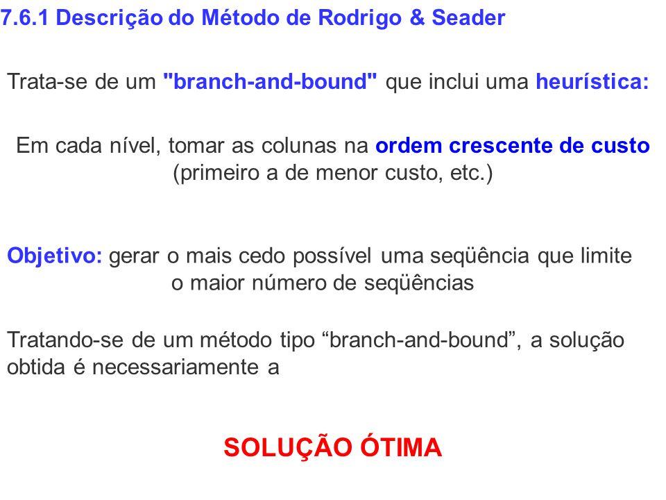 Em cada nível, tomar as colunas na ordem crescente de custo (primeiro a de menor custo, etc.) 7.6.1 Descrição do Método de Rodrigo & Seader Objetivo: