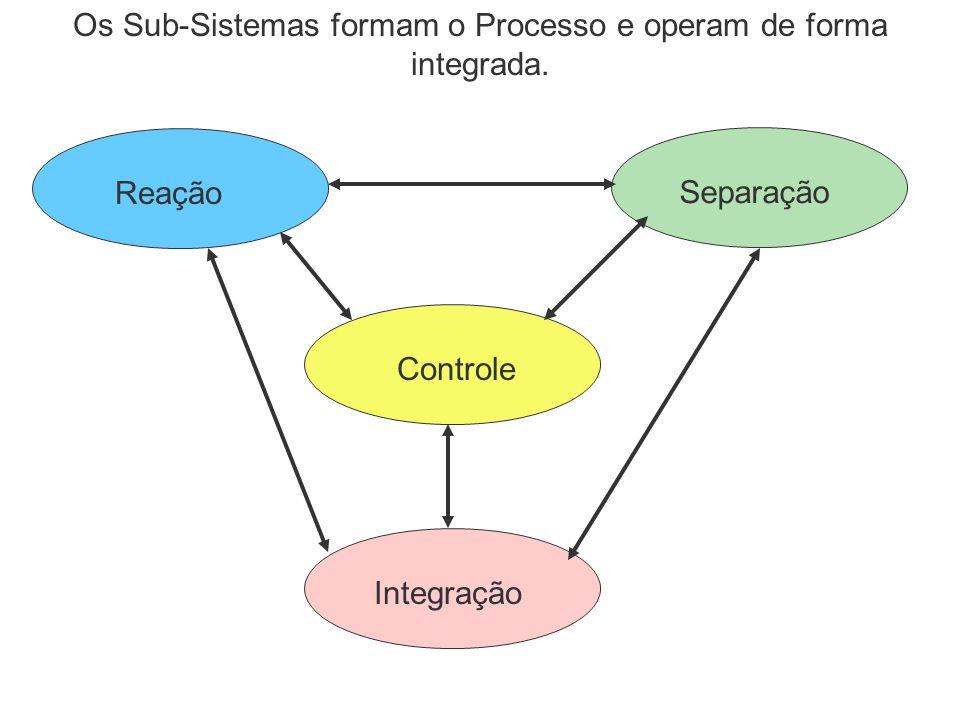 SeparaçãoReação Integração Controle Os Sub-Sistemas formam o Processo e operam de forma integrada.