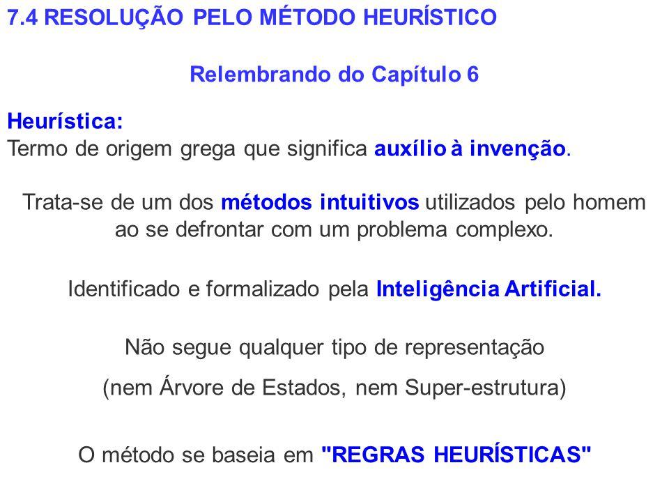 7.4 RESOLUÇÃO PELO MÉTODO HEURÍSTICO Relembrando do Capítulo 6 Trata-se de um dos métodos intuitivos utilizados pelo homem ao se defrontar com um prob