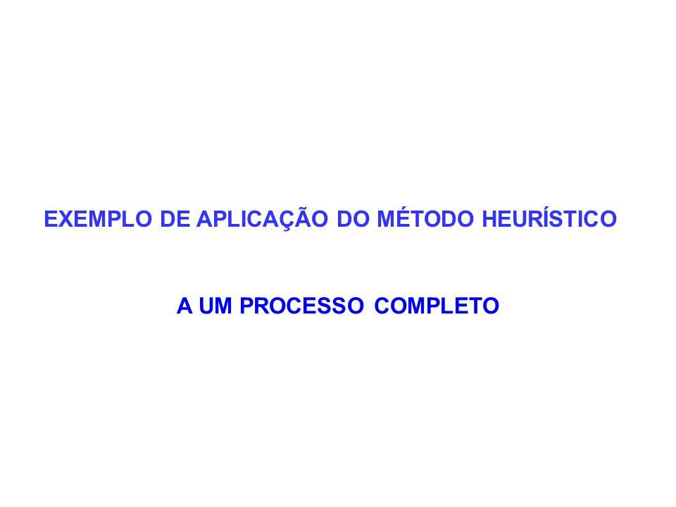 EXEMPLO DE APLICAÇÃO DO MÉTODO HEURÍSTICO A UM PROCESSO COMPLETO