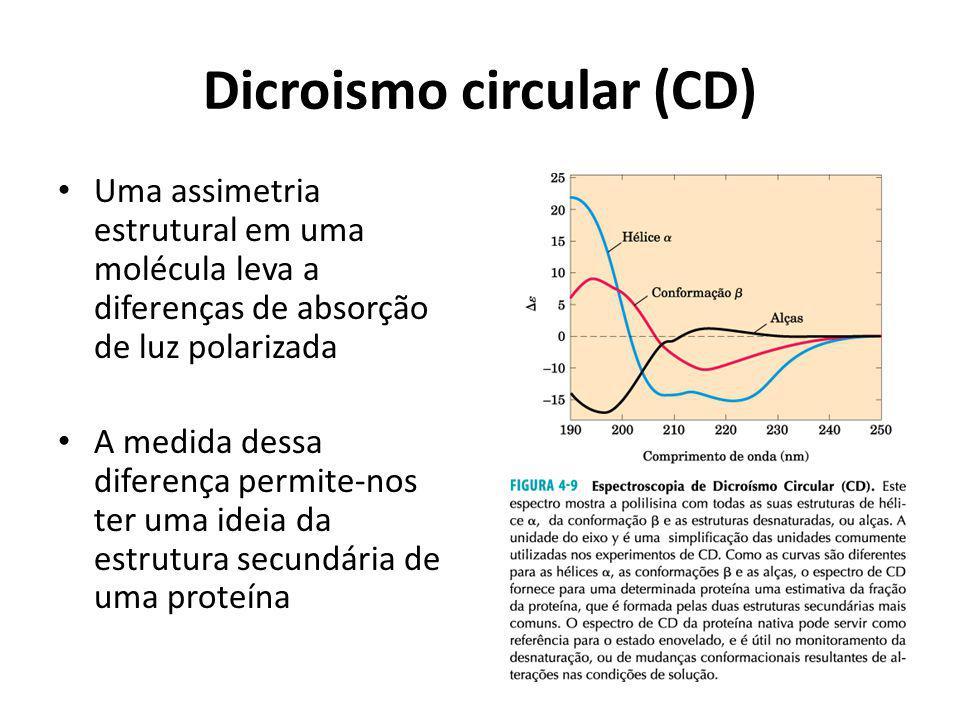 Dicroismo circular (CD) Uma assimetria estrutural em uma molécula leva a diferenças de absorção de luz polarizada A medida dessa diferença permite-nos