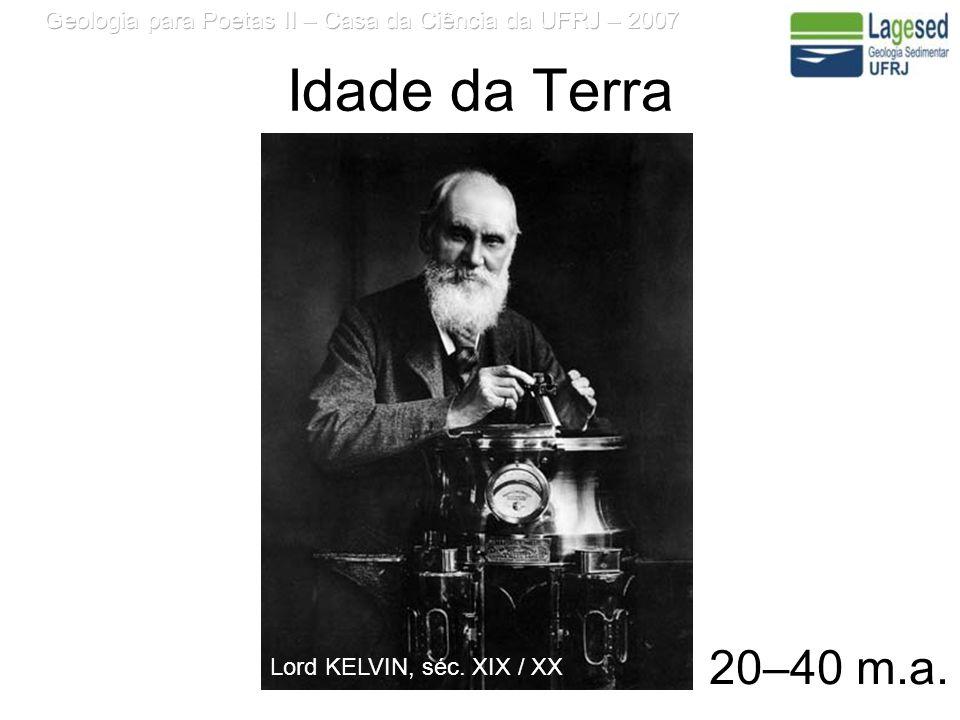 Idade da Terra 20–40 m.a. Lord KELVIN, séc. XIX / XX
