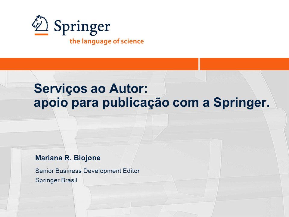 Serviços ao Autor: apoio para publicação com a Springer.