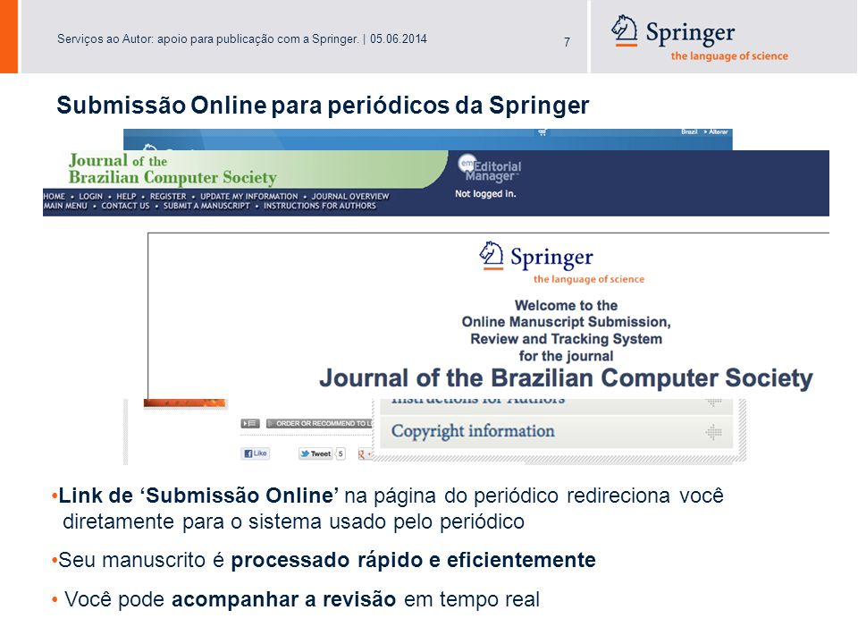 Serviços ao Autor: apoio para publicação com a Springer.   05.06.2014 18