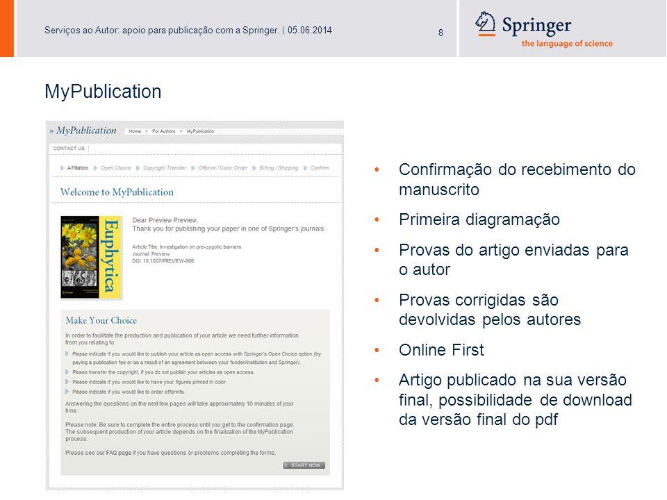 Serviços ao Autor: apoio para publicação com a Springer.   05.06.2014 19