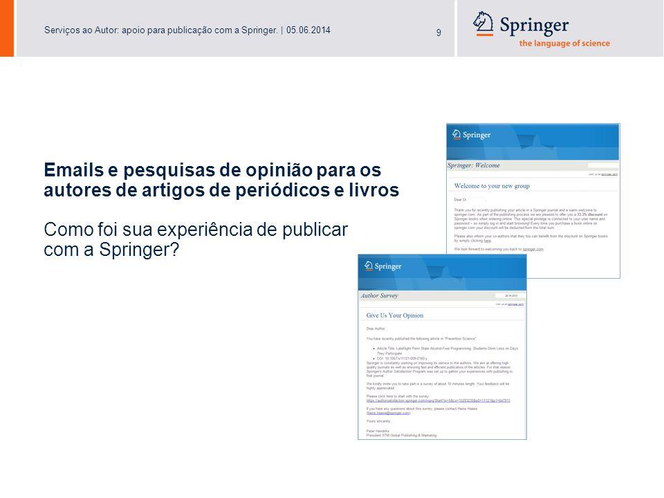 Serviços ao Autor: apoio para publicação com a Springer.   05.06.2014 20