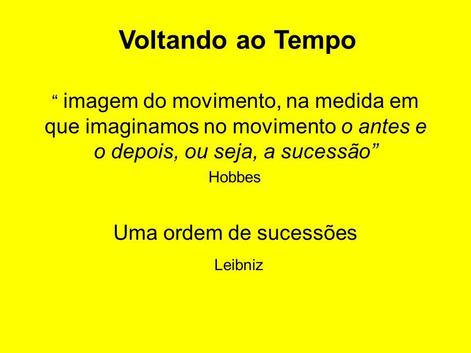 imagem do movimento, na medida em que imaginamos no movimento o antes e o depois, ou seja, a sucessão Uma ordem de sucessões Leibniz Voltando ao Tempo Hobbes