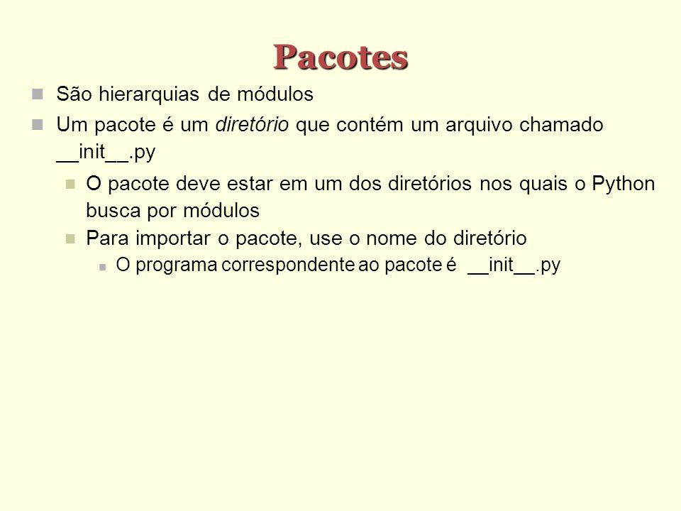 Pacotes São hierarquias de módulos Um pacote é um diretório que contém um arquivo chamado __init__.py O pacote deve estar em um dos diretórios nos qua
