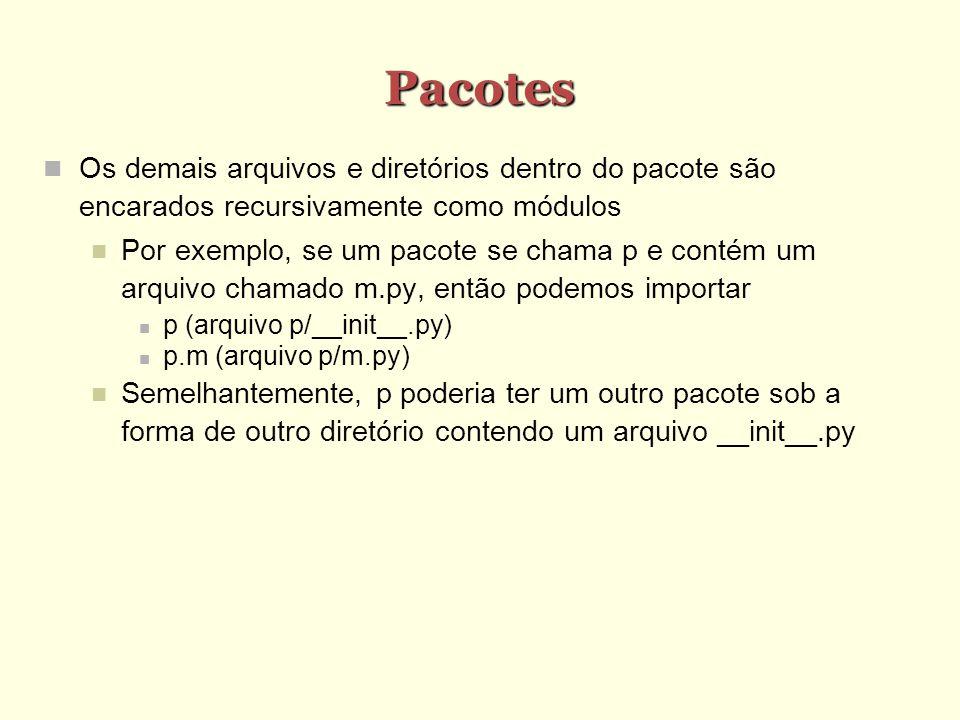 Pacotes Os demais arquivos e diretórios dentro do pacote são encarados recursivamente como módulos Por exemplo, se um pacote se chama p e contém um ar