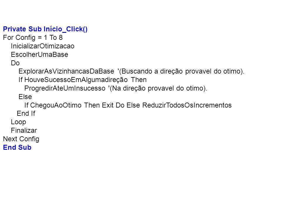 Private Sub Início_Click() For Config = 1 To 8 InicializarOtimizacao EscolherUmaBase Do ExplorarAsVizinhancasDaBase '(Buscando a direção provavel do o