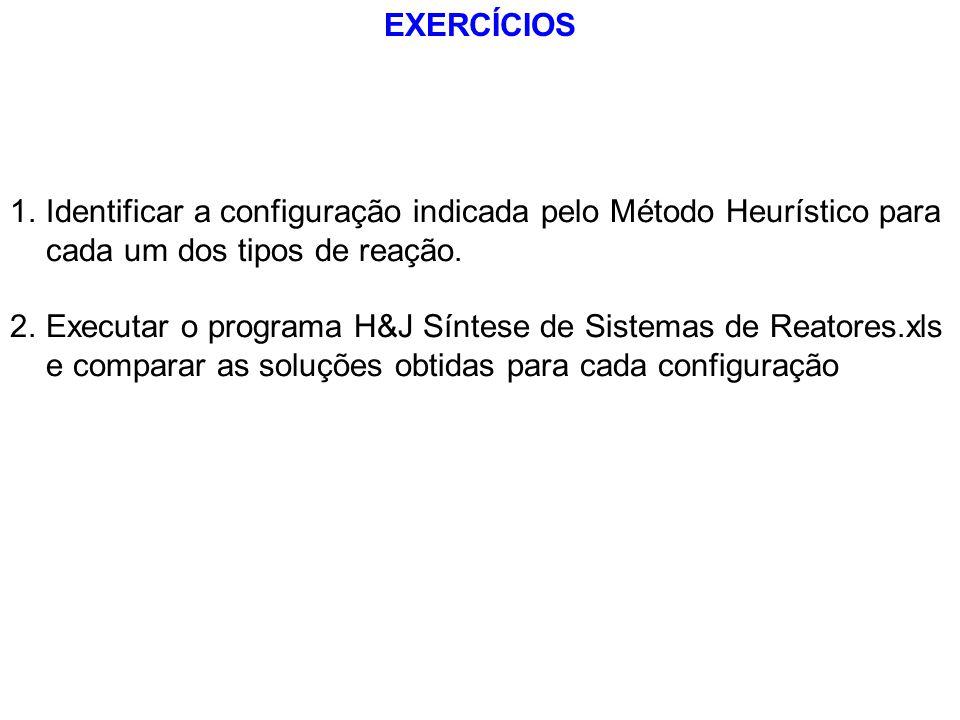 EXERCÍCIOS 1.Identificar a configuração indicada pelo Método Heurístico para cada um dos tipos de reação. 2.Executar o programa H&J Síntese de Sistema