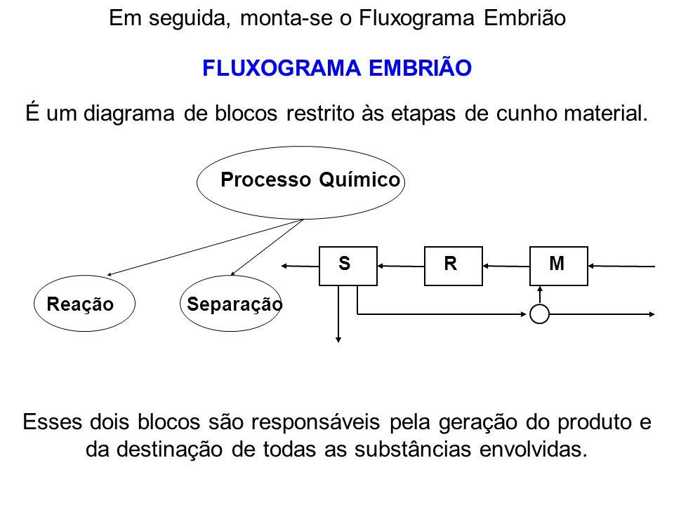 FLUXOGRAMA EMBRIÃO Em seguida, monta-se o Fluxograma Embrião É um diagrama de blocos restrito às etapas de cunho material. Processo Químico ReaçãoSepa