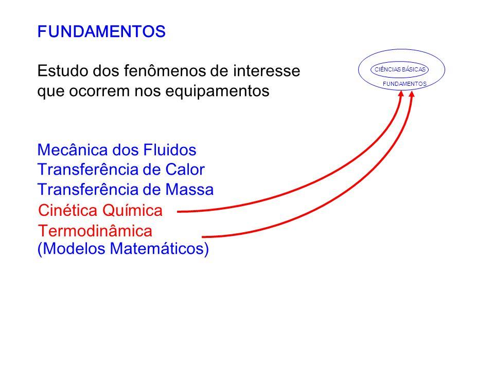 FUNDAMENTOS Estudo dos fenômenos de interesse que ocorrem nos equipamentos Mecânica dos Fluidos Transferência de Calor Transferência de Massa (Modelos