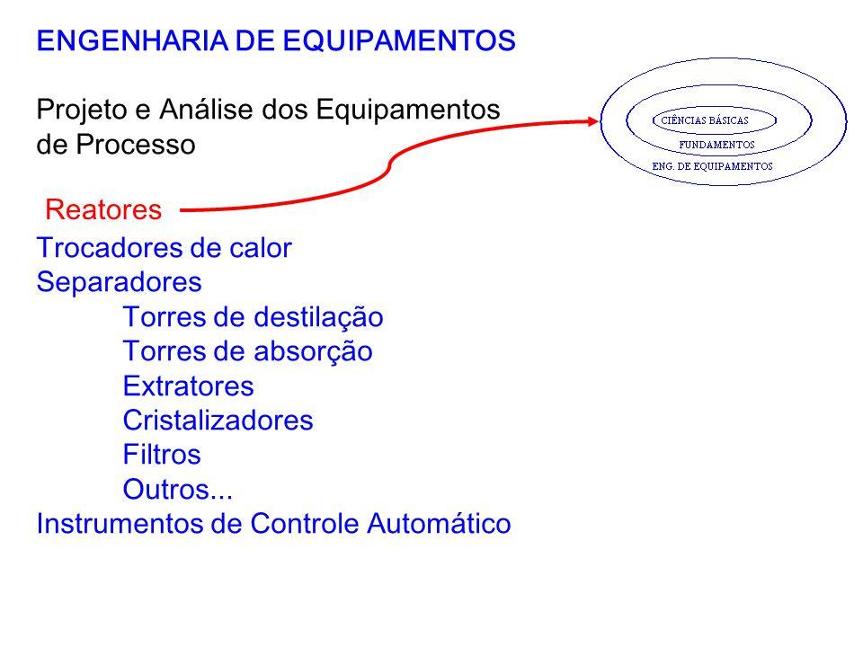 ENGENHARIA DE EQUIPAMENTOS Projeto e Análise dos Equipamentos de Processo Trocadores de calor Separadores Torres de destilação Torres de absorção Extr