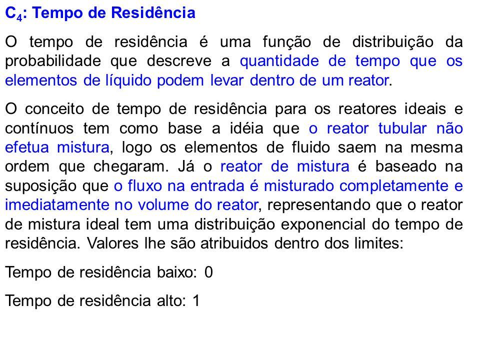 C 4 : Tempo de Residência O tempo de residência é uma função de distribuição da probabilidade que descreve a quantidade de tempo que os elementos de l