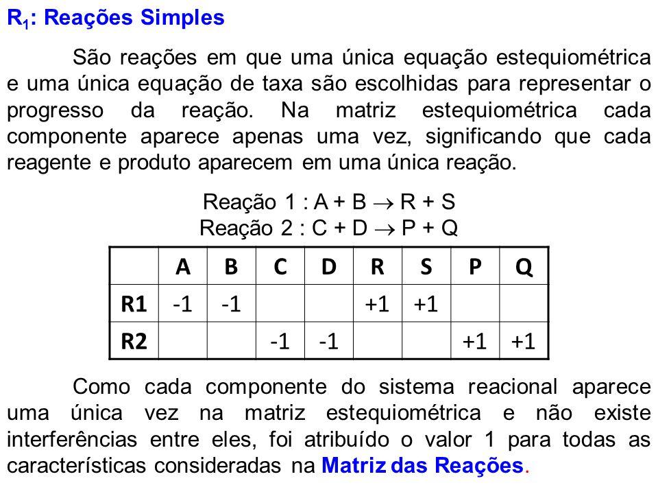R 1 : Reações Simples São reações em que uma única equação estequiométrica e uma única equação de taxa são escolhidas para representar o progresso da
