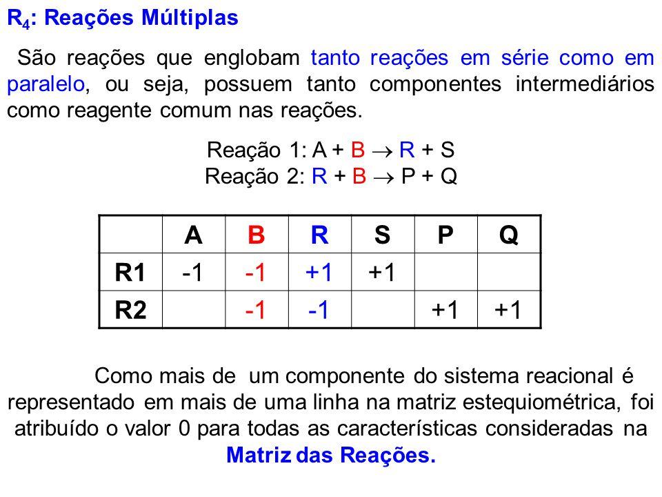 R 4 : Reações Múltiplas São reações que englobam tanto reações em série como em paralelo, ou seja, possuem tanto componentes intermediários como reage
