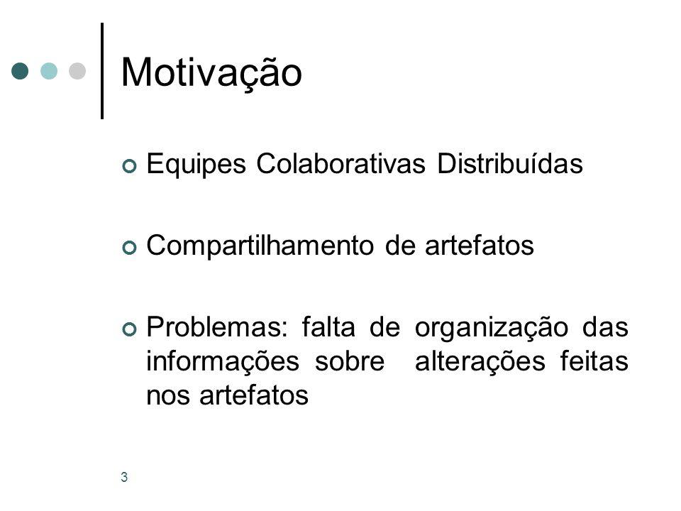 3 Motivação Equipes Colaborativas Distribuídas Compartilhamento de artefatos Problemas: falta de organização das informações sobre alterações feitas nos artefatos