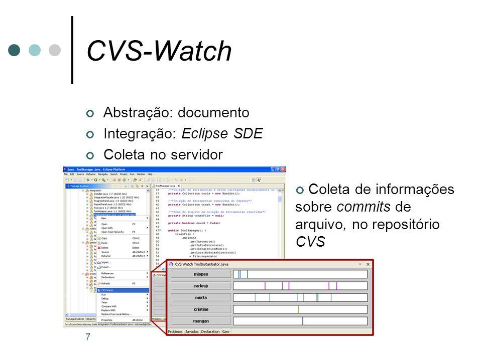 7 CVS-Watch Abstração: documento Integração: Eclipse SDE Coleta no servidor Coleta de informações sobre commits de arquivo, no repositório CVS