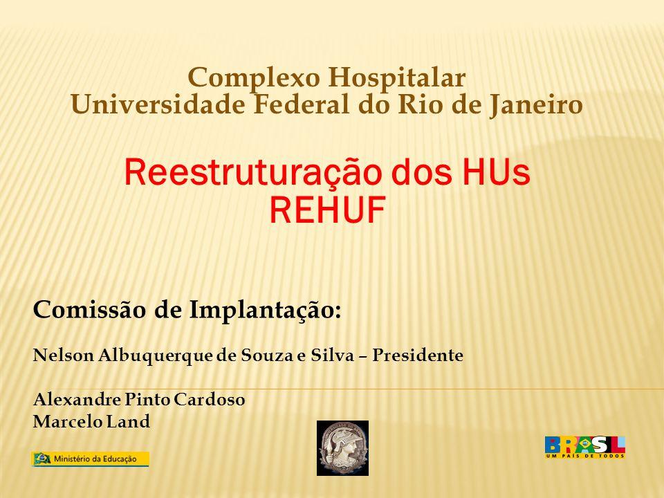 Complexo Hospitalar Universidade Federal do Rio de Janeiro Reestruturação dos HUs REHUF Comissão de Implantação: Nelson Albuquerque de Souza e Silva –