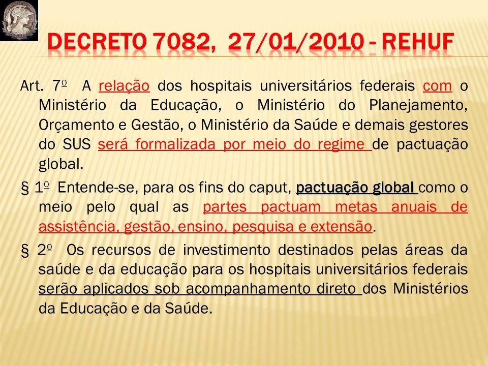 Art. 7 o A relação dos hospitais universitários federais com o Ministério da Educação, o Ministério do Planejamento, Orçamento e Gestão, o Ministério