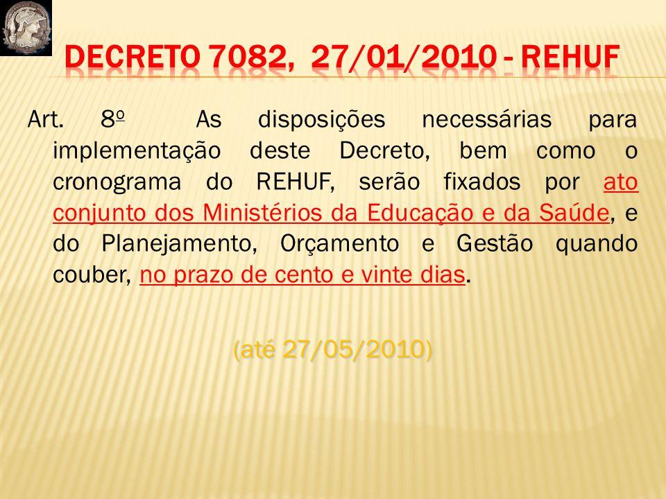 Art. 8 o As disposições necessárias para implementação deste Decreto, bem como o cronograma do REHUF, serão fixados por ato conjunto dos Ministérios d