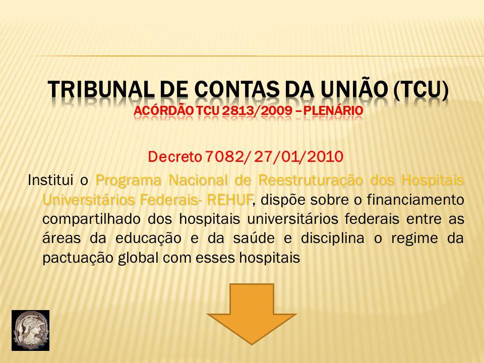Decreto 7082/ 27/01/2010 Programa Nacional de Reestruturação dos Hospitais Universitários Federais- REHUF Institui o Programa Nacional de Reestruturaç