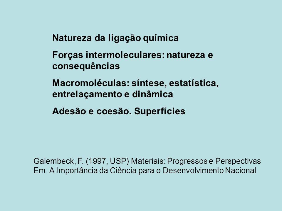 Natureza da ligação química Forças intermoleculares: natureza e consequências Macromoléculas: síntese, estatística, entrelaçamento e dinâmica Adesão e coesão.