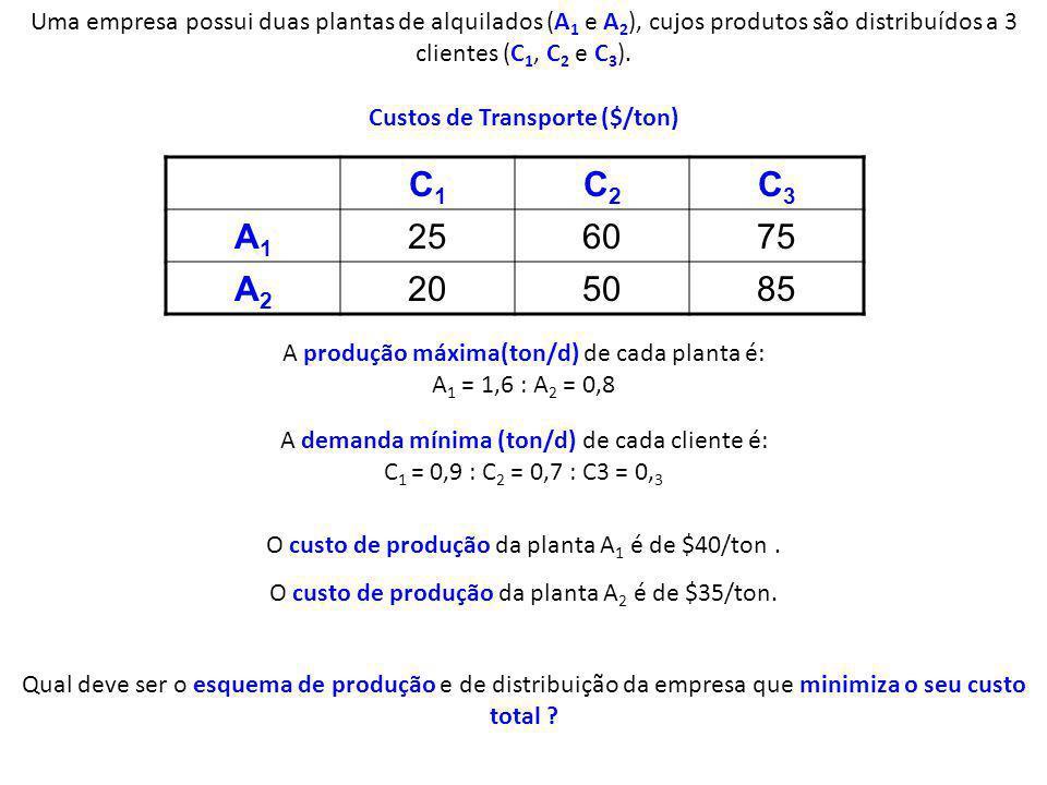 Uma empresa possui duas plantas de alquilados (A 1 e A 2 ), cujos produtos são distribuídos a 3 clientes (C 1, C 2 e C 3 ). C1C1 C2C2 C3C3 A1A1 256075