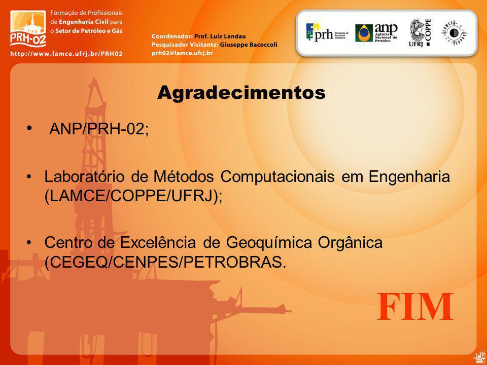 Agradecimentos ANP/PRH-02; Laboratório de Métodos Computacionais em Engenharia (LAMCE/COPPE/UFRJ); Centro de Excelência de Geoquímica Orgânica (CEGEQ/