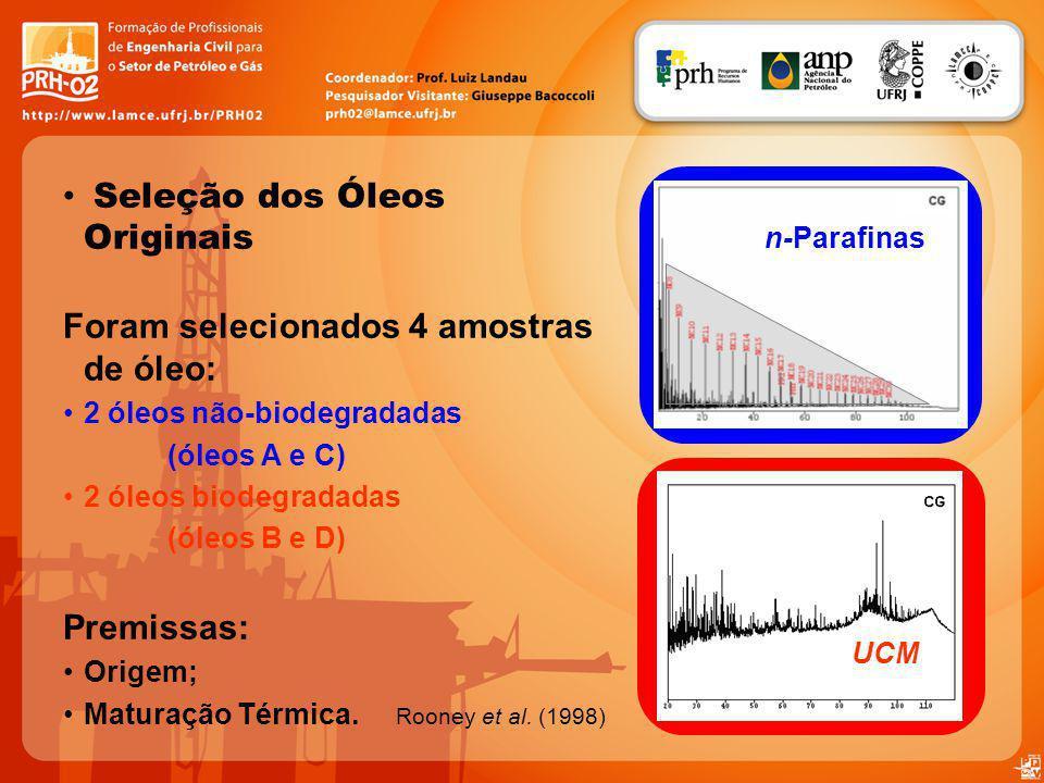 Seleção dos Óleos Originais Foram selecionados 4 amostras de óleo: 2 óleos não-biodegradadas (óleos A e C) 2 óleos biodegradadas (óleos B e D) Premiss