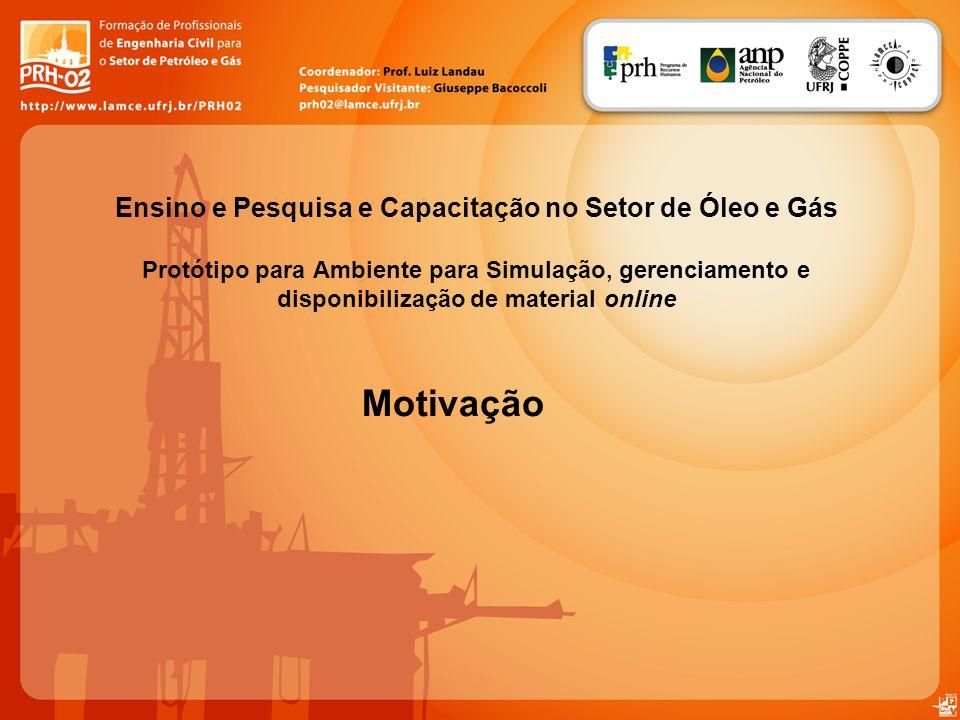 Motivação Ensino e Pesquisa e Capacitação no Setor de Óleo e Gás Protótipo para Ambiente para Simulação, gerenciamento e disponibilização de material