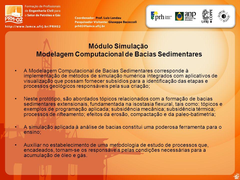 A Modelagem Computacional de Bacias Sedimentares corresponde à implementação de métodos de simulação numérica integrados com aplicativos de visualizaç