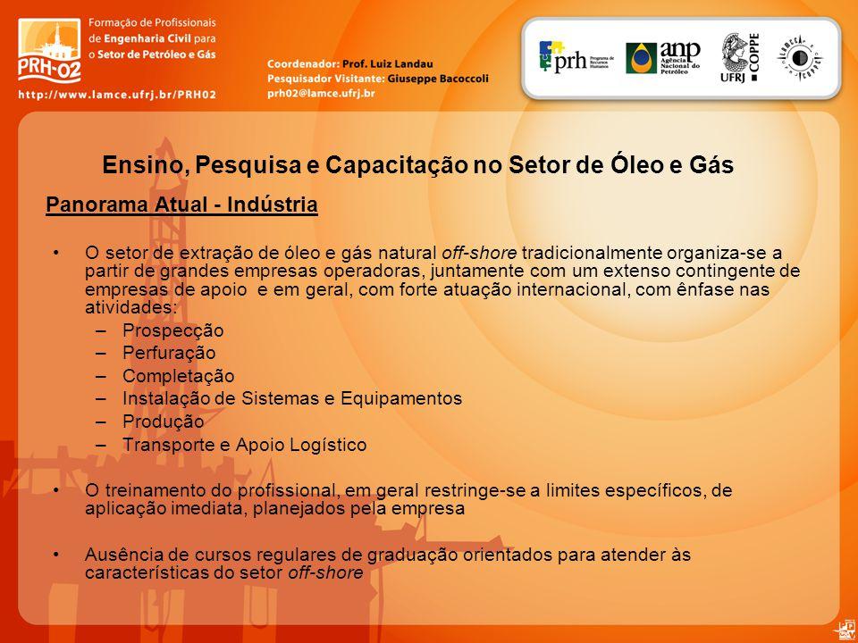 Panorama Atual - Indústria Ensino, Pesquisa e Capacitação no Setor de Óleo e Gás O setor de extração de óleo e gás natural off-shore tradicionalmente