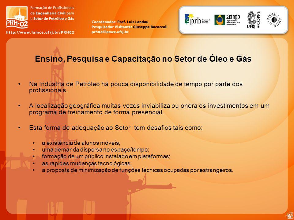 Na Indústria de Petróleo há pouca disponibilidade de tempo por parte dos profissionais. A localização geográfica muitas vezes inviabiliza ou onera os
