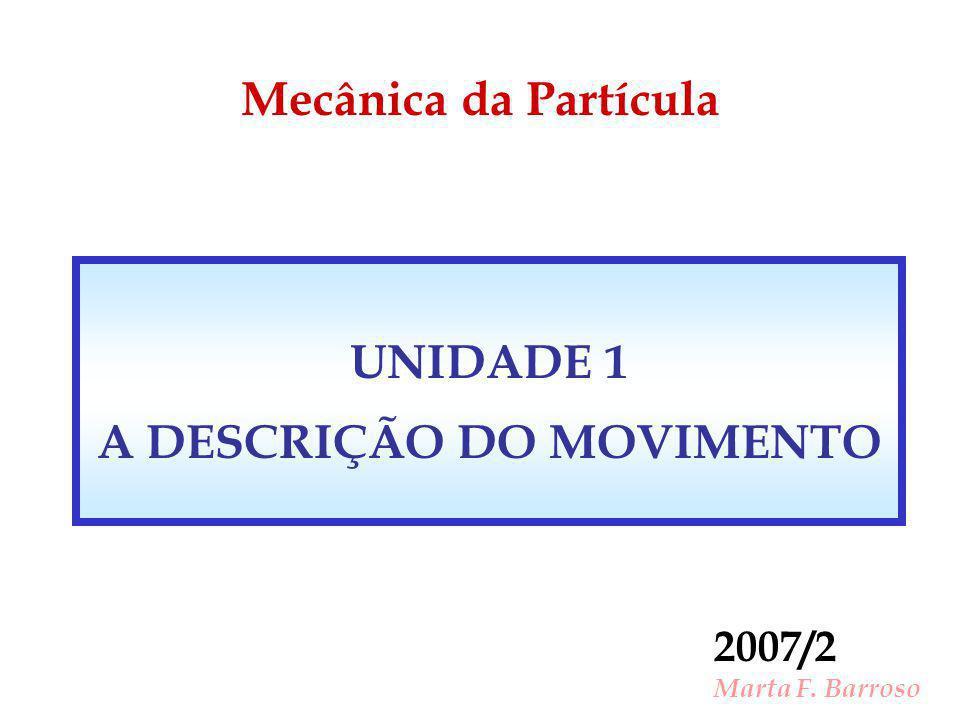 Mecânica da Partícula 2007/2 Marta F. Barroso UNIDADE 1 A DESCRIÇÃO DO MOVIMENTO