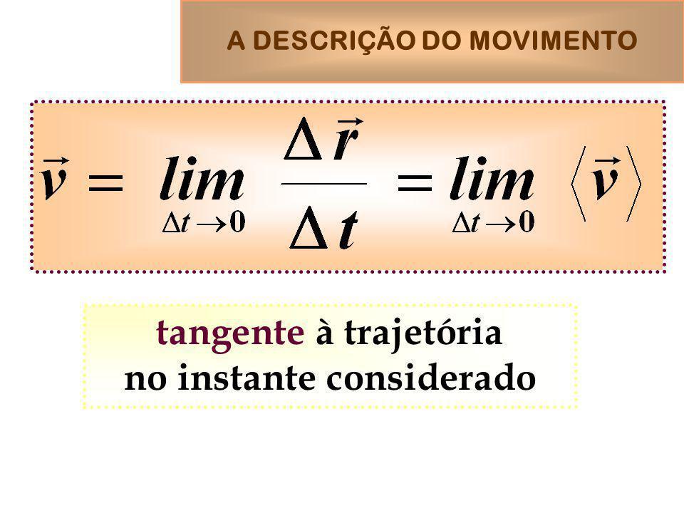 A DESCRIÇÃO DO MOVIMENTO tangente à trajetória no instante considerado