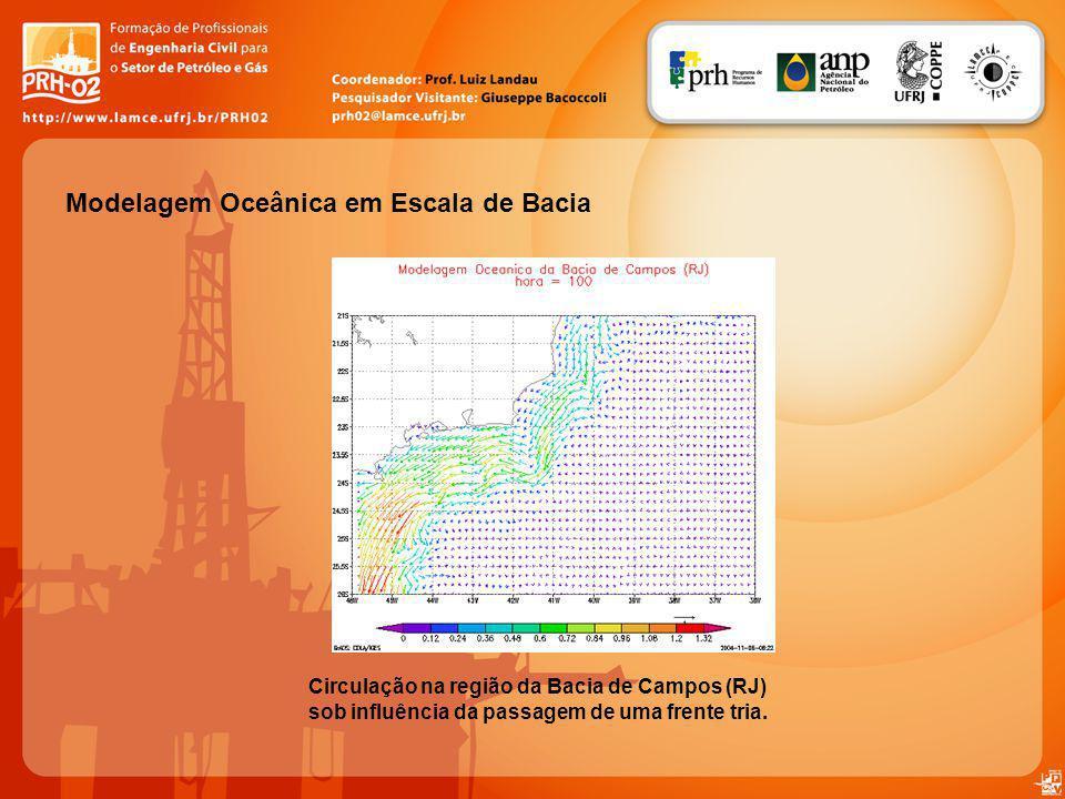 Modelagem Oceânica em Escala de Bacia Circulação na região da Bacia de Campos (RJ) sob influência da passagem de uma frente tria.