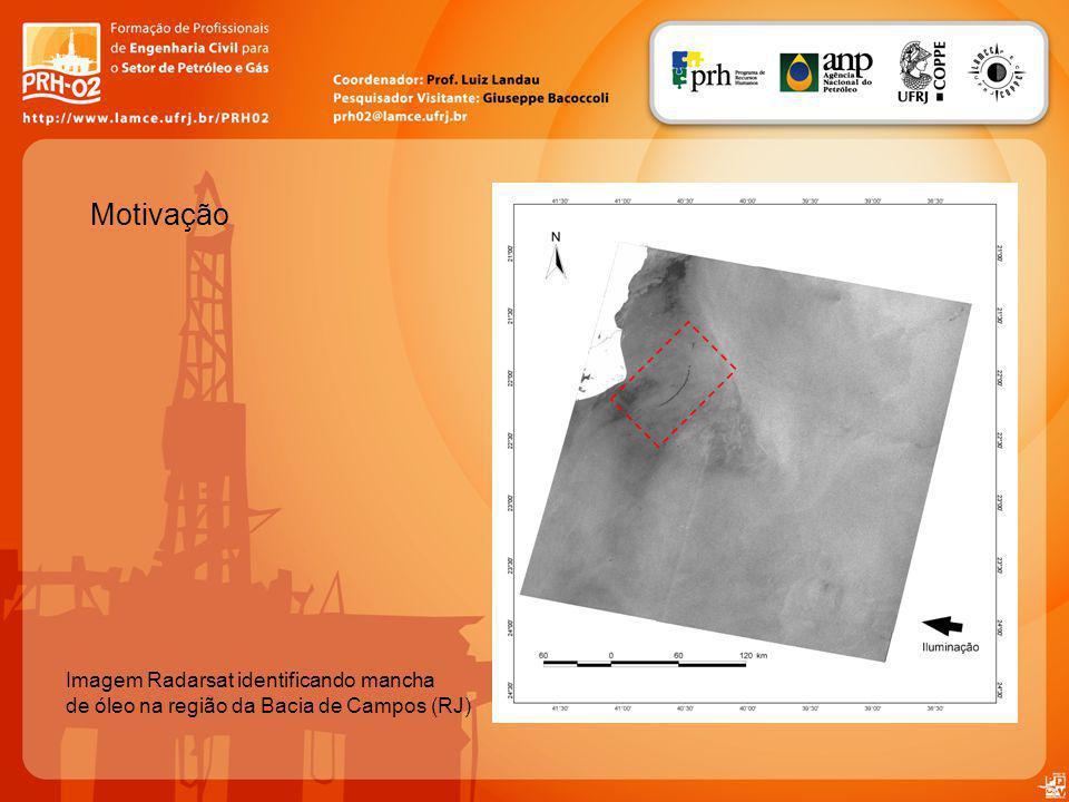 Motivação Imagem Radarsat identificando mancha de óleo na região da Bacia de Campos (RJ)