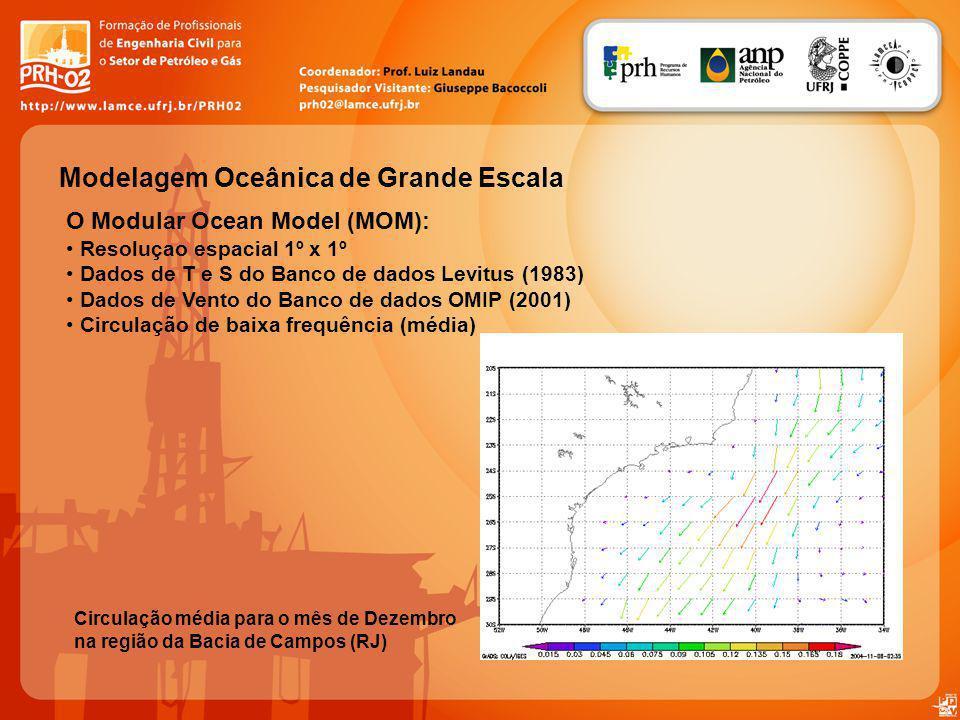 Modelagem Oceânica de Grande Escala O Modular Ocean Model (MOM): Resoluçao espacial 1º x 1º Dados de T e S do Banco de dados Levitus (1983) Dados de Vento do Banco de dados OMIP (2001) Circulação de baixa frequência (média) Circulação média para o mês de Dezembro na região da Bacia de Campos (RJ)