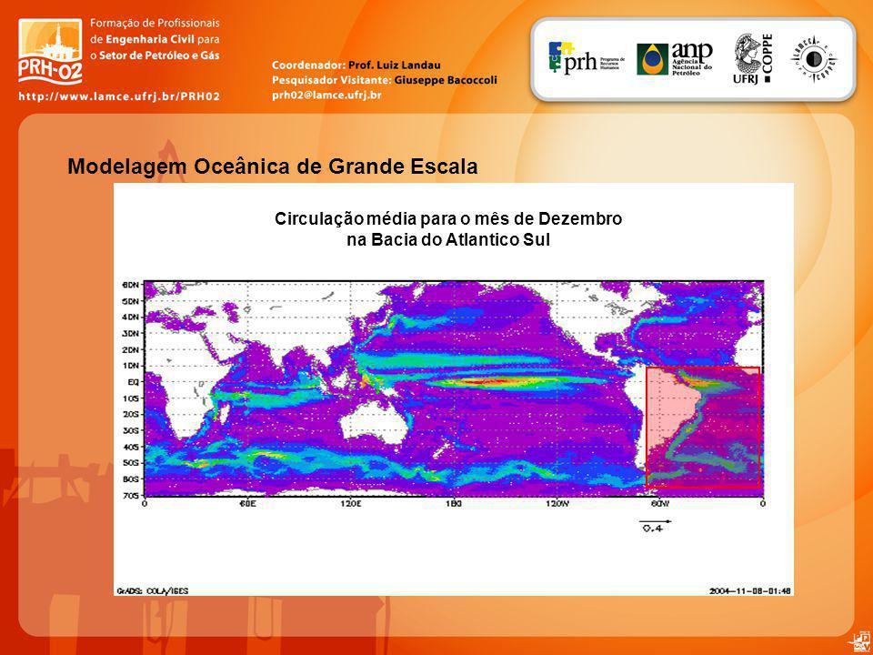 Modelagem Oceânica de Grande Escala Circulação média para o mês de Dezembro na Bacia do Atlantico Sul
