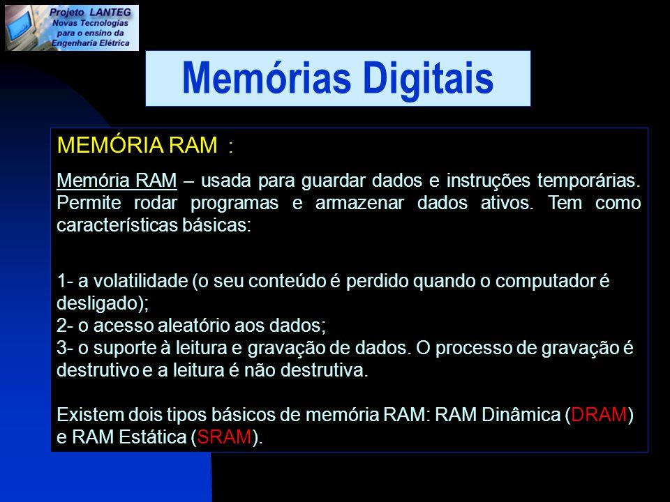 Memórias Digitais MEMÓRIA RAM : Memória RAM – usada para guardar dados e instruções temporárias. Permite rodar programas e armazenar dados ativos. Tem