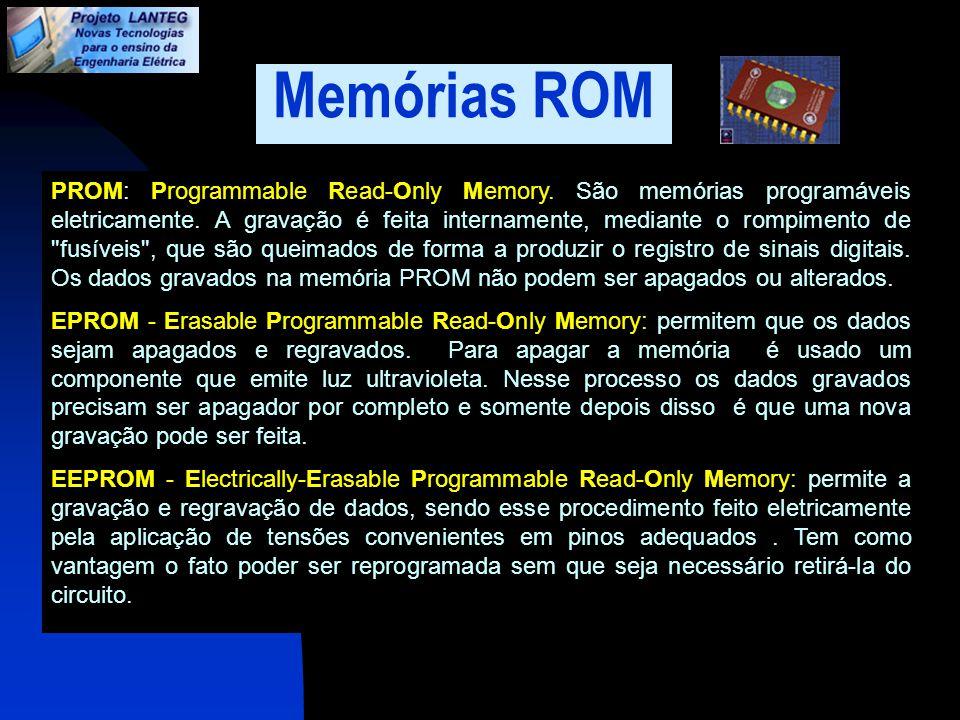 Memórias ROM PROM: Programmable Read-Only Memory. São memórias programáveis eletricamente. A gravação é feita internamente, mediante o rompimento de