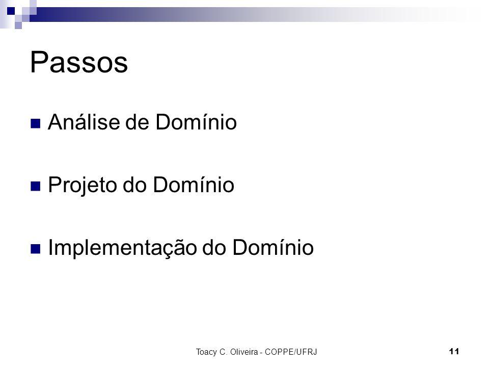 Toacy C. Oliveira - COPPE/UFRJ 11 Passos Análise de Domínio Projeto do Domínio Implementação do Domínio