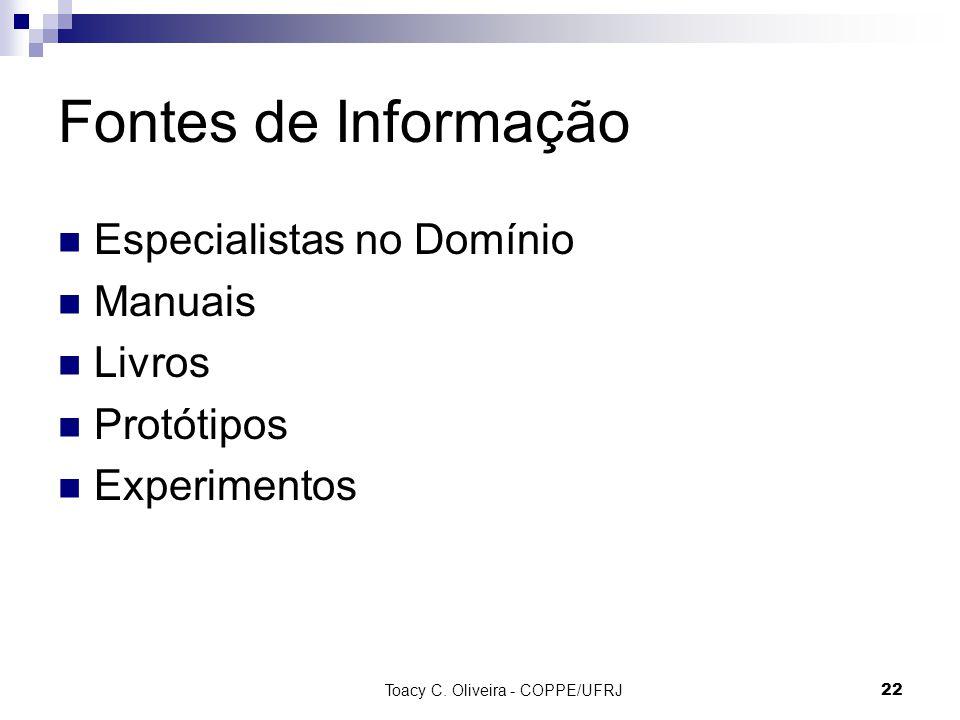 Toacy C. Oliveira - COPPE/UFRJ 22 Fontes de Informação Especialistas no Domínio Manuais Livros Protótipos Experimentos