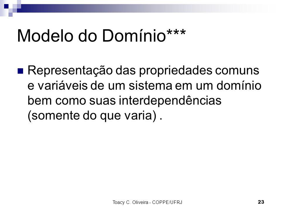 Toacy C. Oliveira - COPPE/UFRJ 23 Modelo do Domínio*** Representação das propriedades comuns e variáveis de um sistema em um domínio bem como suas int